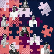 A picture of confused office workers spread out across an incomplete jigsaw puzzle: A metaphor that shows providing clear direction is important for organizational health.