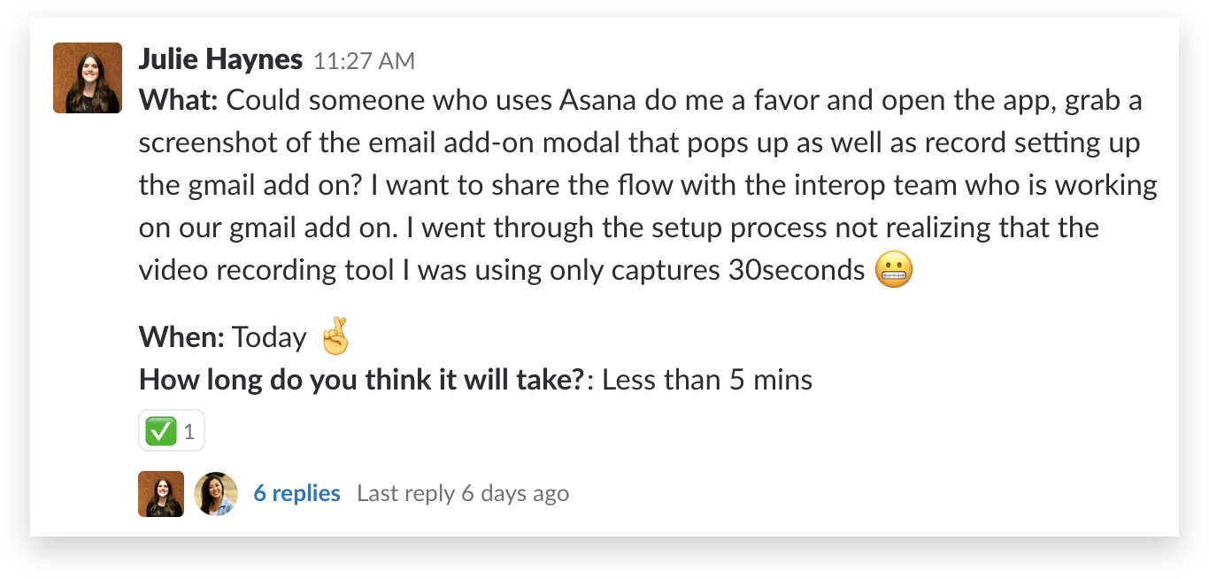 screenshot of someone asking for help with Asana
