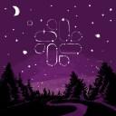 Illustration of Slack logo in a starry night sky