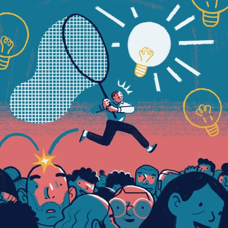 An illustration of knowledge management featuring a man climbing over a crowd to catch a lightbulb in a butterfly net.