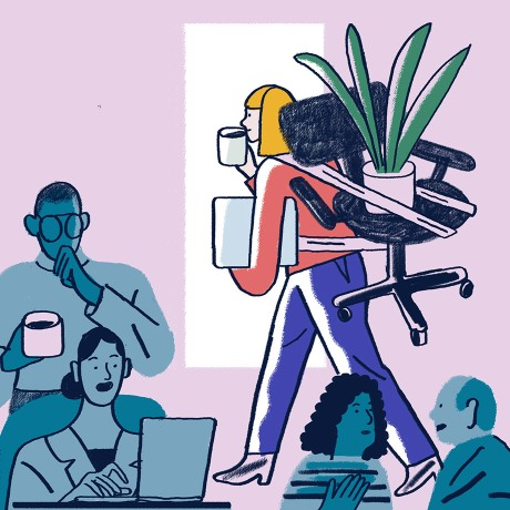 This illustration depicts a bustling office environment. One team member exits the office with her chair and her plant strapped to her back: A sign that she's off on extended leave from work.