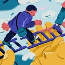 Effective leadership inspires team members to perform at their best. This illustration depicts a leader holding up two ladders as a bridge for others to cross over.