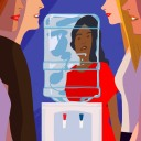 An illustration of two people speaking at a water cooler with an employee lingering in the background, depicting isolation at work