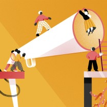 Internal communication is everyone's responsibility. Wenting Li, a Toronto-based illustrator, imagines internal communication as a massive loud speaker with workers on either side.