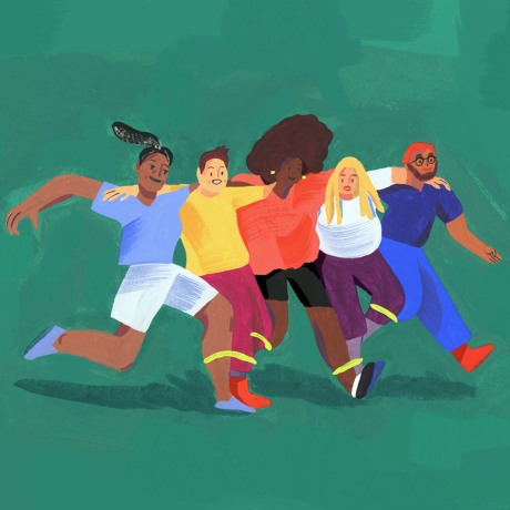 Team building activities can have lasting effects on team cohesiveness. As depicted by this illustration of a team entering a three, or rather six, legged race.