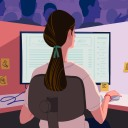 An illustration of a woman working on a computer
