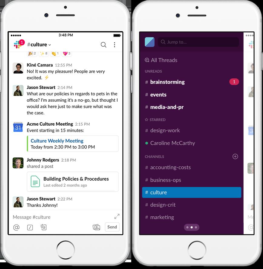 Slack mobile iOS app