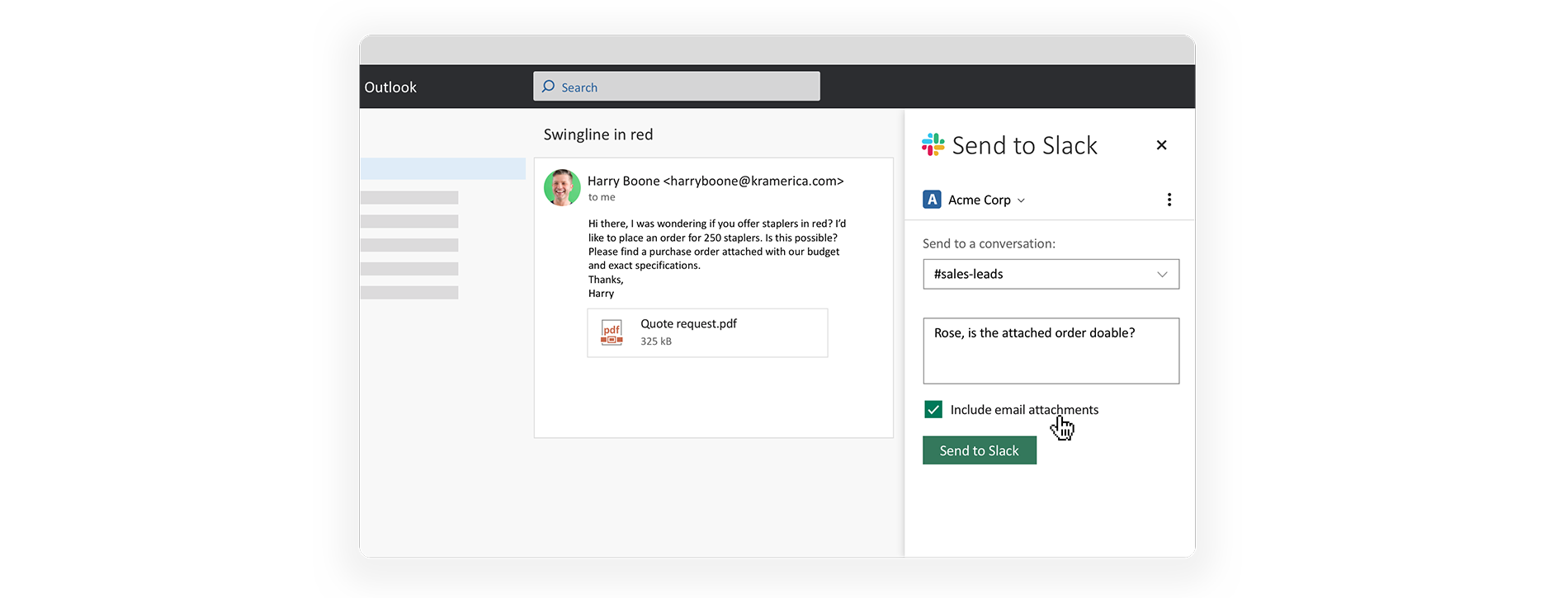 An example of how Slack integrates with Microsoft Outlook so you can keep better tabs on your communication.
