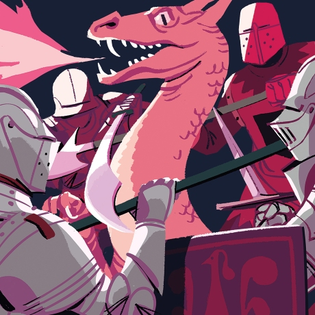 team dynamics hero image of knights fighting a dragon