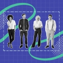An image of four employees set against a blueprint-like background signifying team building