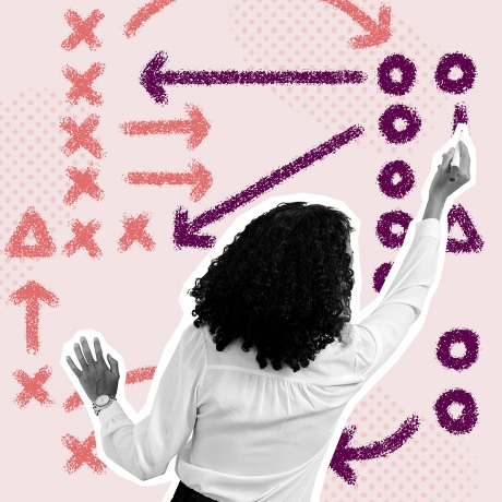 business process image of a woman sketching a playbook on a board