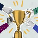 cross-functional collaboration hero various hands grabbing onto a trophy