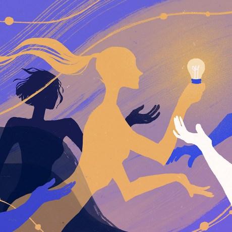 innovation process woman holding a lightbulb