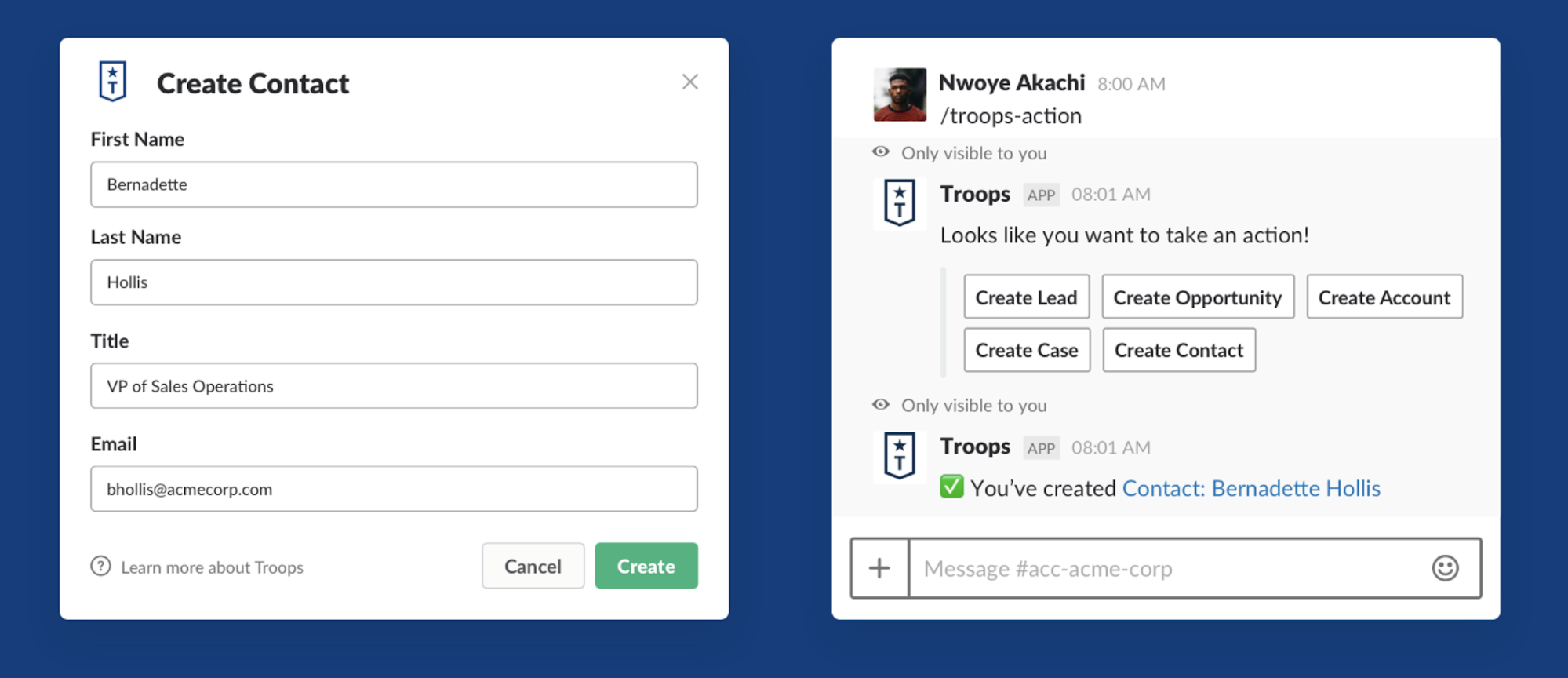 Troops app for Slack
