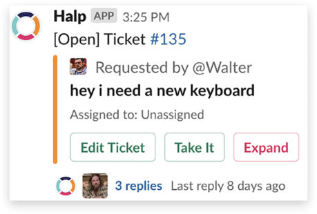 An open IT help desk ticket in Slack