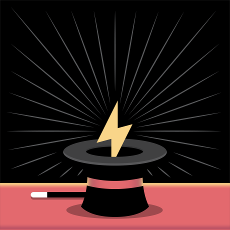 A lightning bolt rising out of a magician hat