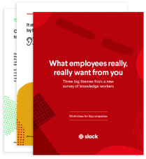 The cover of an ebook by Slack featuring results from a custom survey about what employees really want and the value of trust, teamwork, and transparency