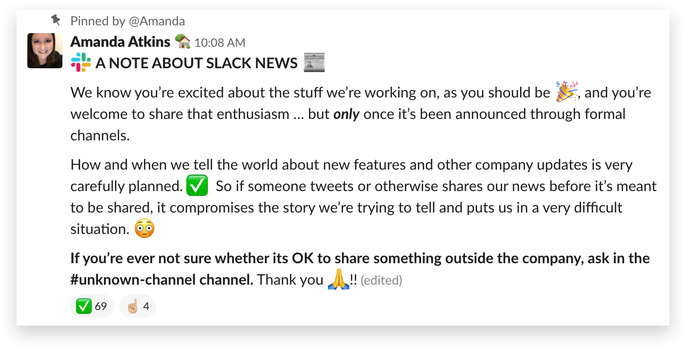 Internal communications guidelines for an announcement channel in Slack