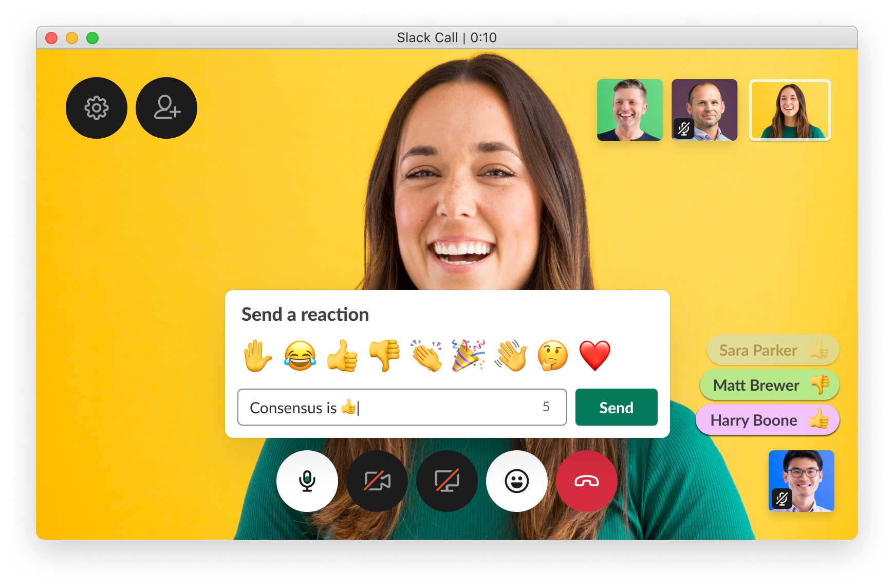 Members can now send short messages while on a Slack call