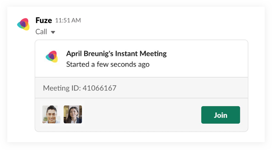 Start a call with the Fuze app for Slack