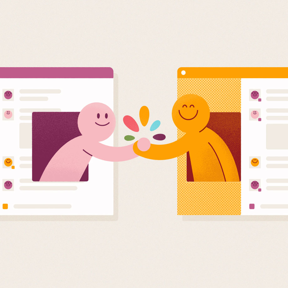 Two Slack users from two different Slack instances reaching across the gap to shake hands and connect
