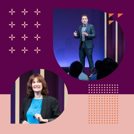 Photos of Slack CEO Stewart Butterfield and Chief Product Officer Tamar Yehoshua speaking on stage at Frontiers Tokyo.