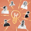 employee learning and development hero happy faces around a lightbulb