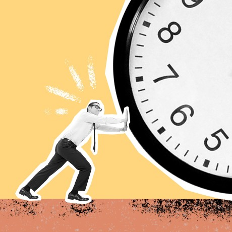 productivity tips hero man pushing giant clock trying to make it move