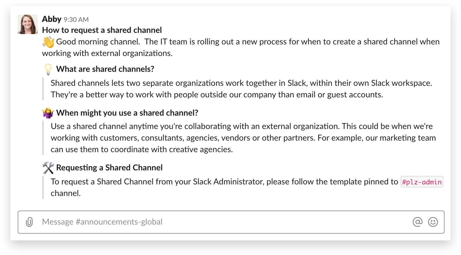Announcing shared channels to your org