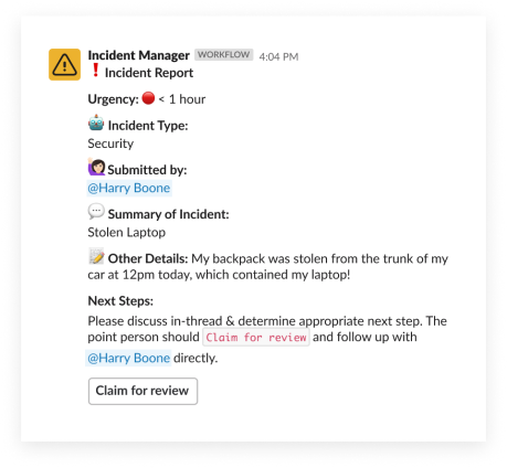 An incident report filed using an automated workflow in Slack