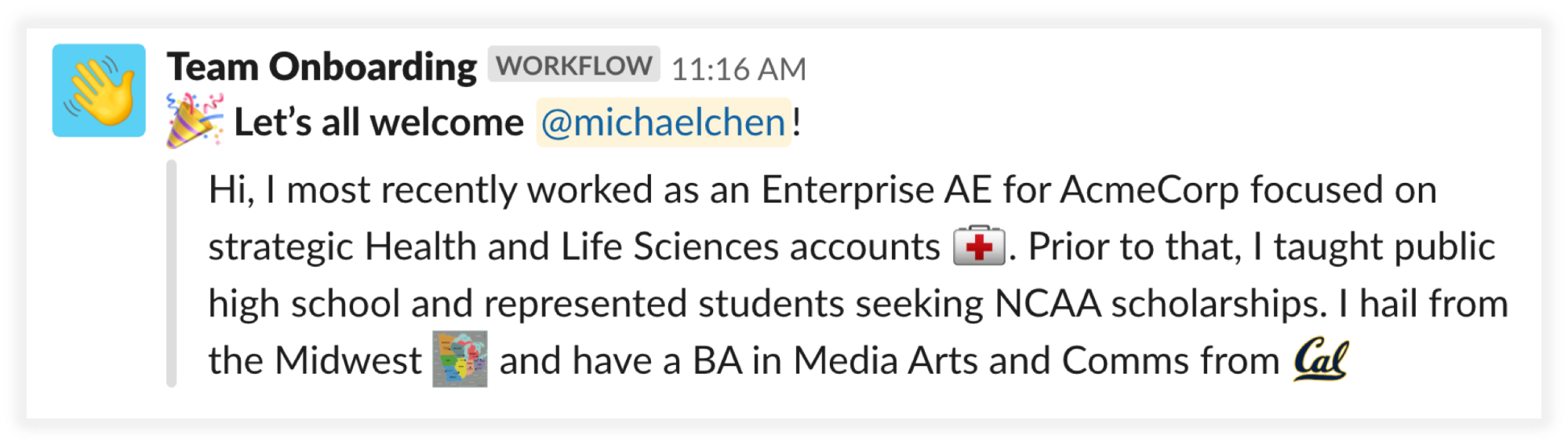 Workflow automatically posts a bio in a #welcome channel