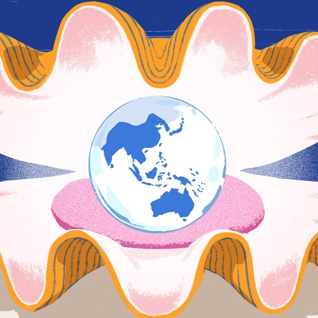An oyster opening up to show a globe in the form of a pearl