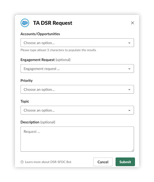 TA DRS Request screenshot