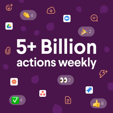 Graphic image of Slack's count of weekly actions among users: 5+ billion