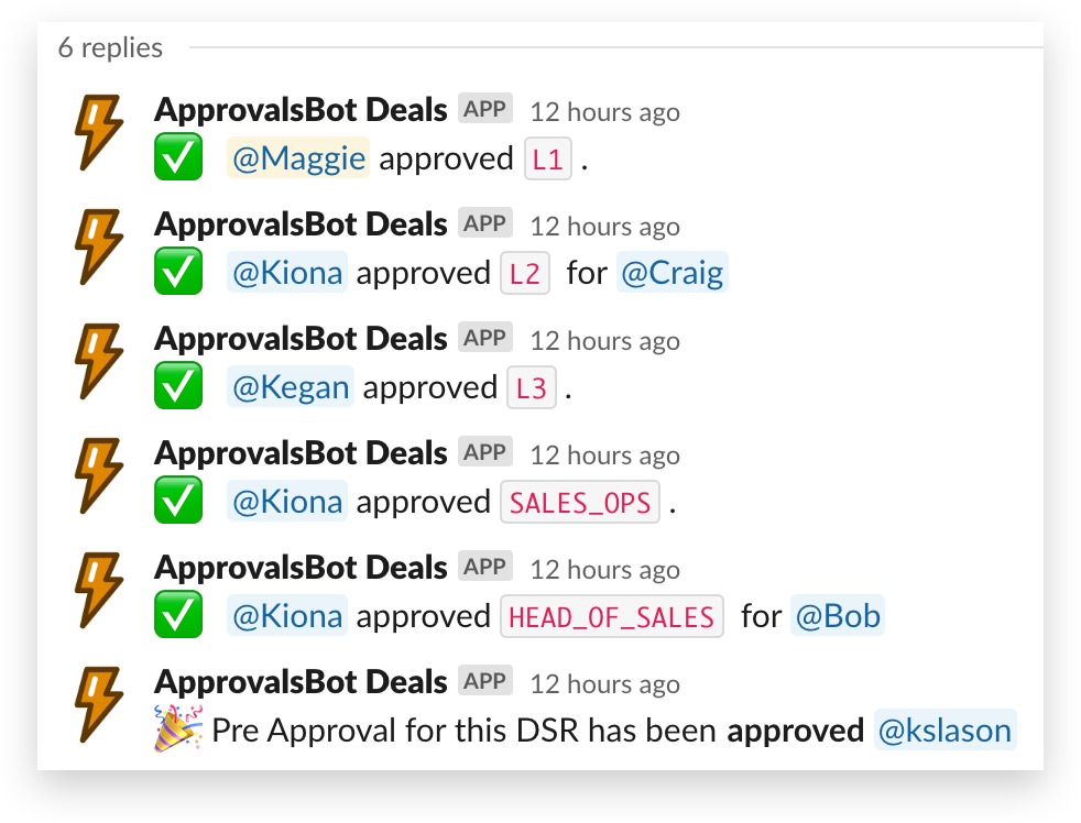 A screenshot of Approvals Bot