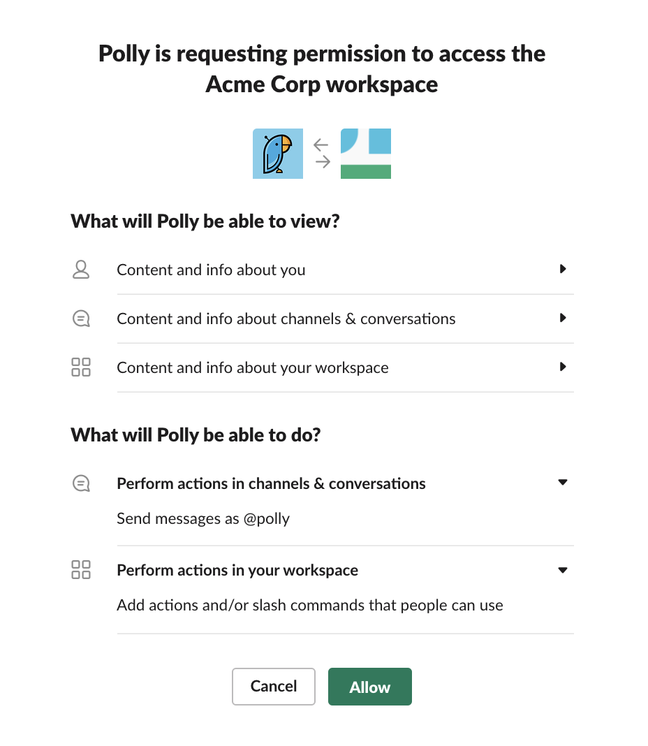 Polly app requesting detailed permissions in Slack