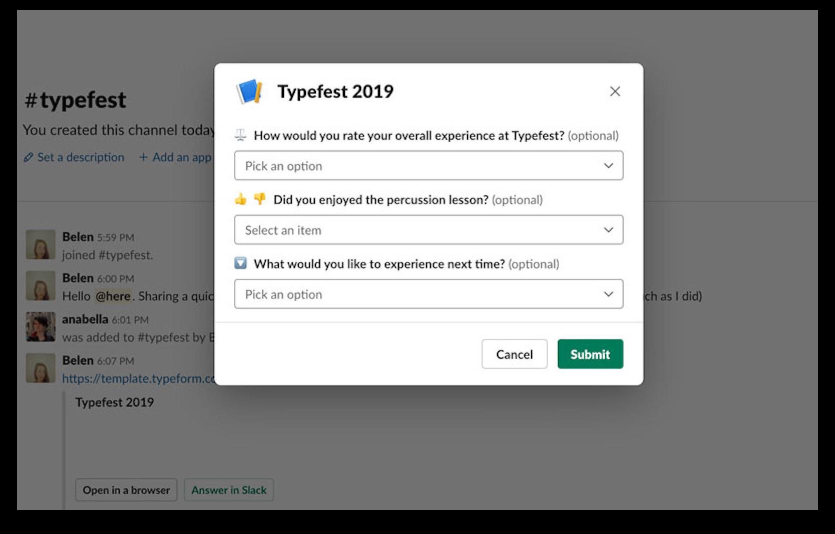 Typeform app for Slack