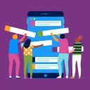 Original illustration showing a team collaborating on a Slack mobile device