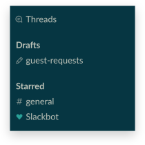 The Drafts area of the Slack sidebar