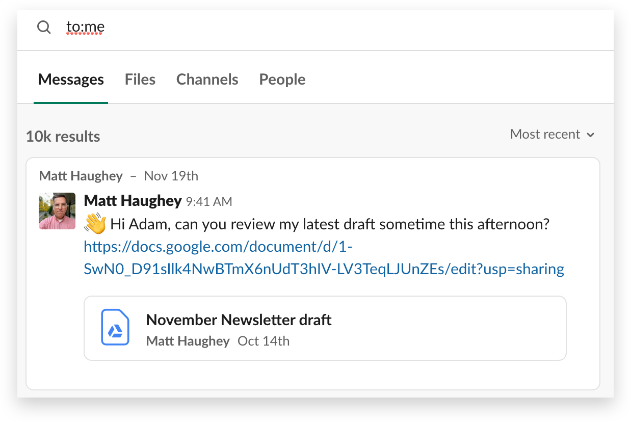 A search for direct messages sent to you in Slack