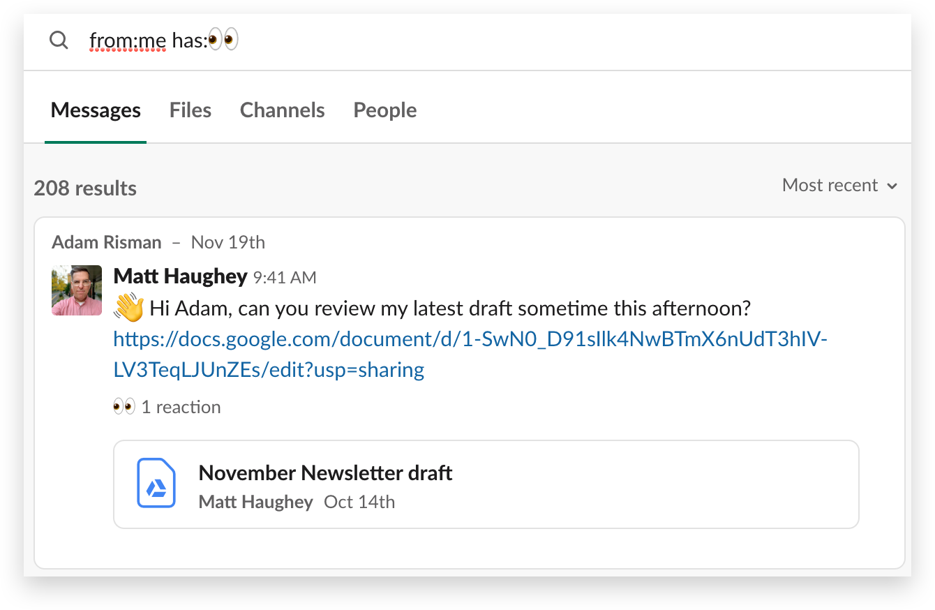 Searching in Slack for messages with a particular emoji reaction