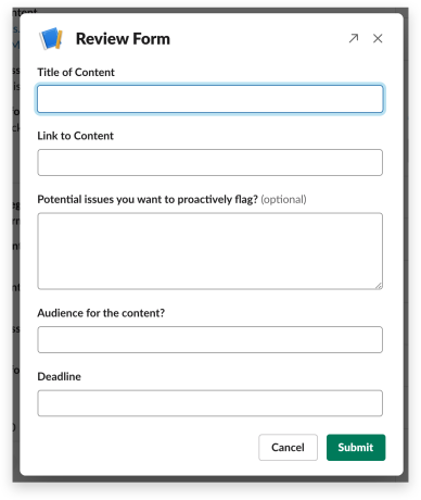 Legal review form in Workflow Builder
