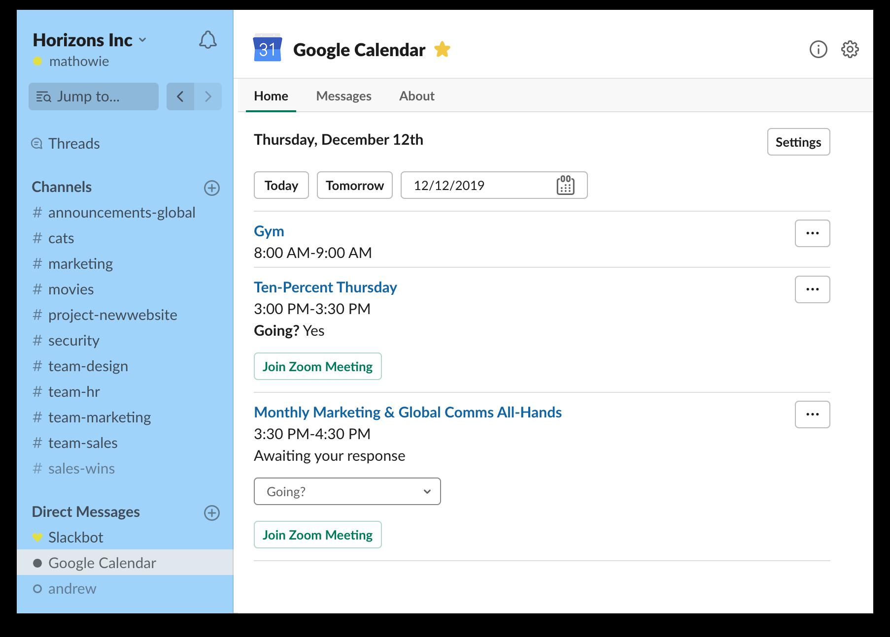 Google Calendar app for Slack
