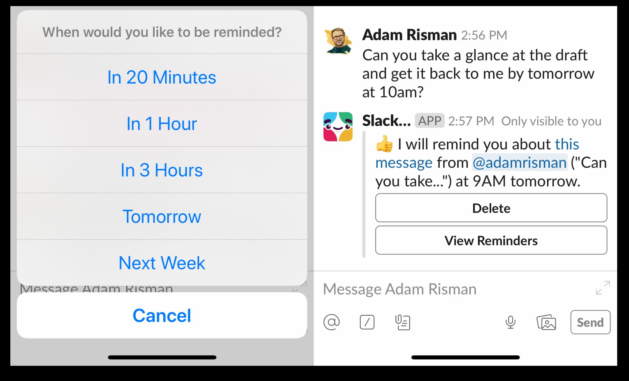 Setting a reminder on the Slack mobile app