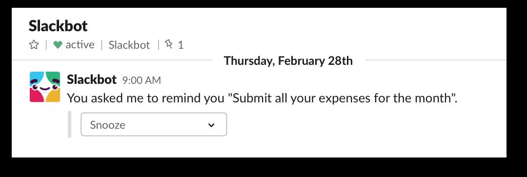 A reminder in Slack