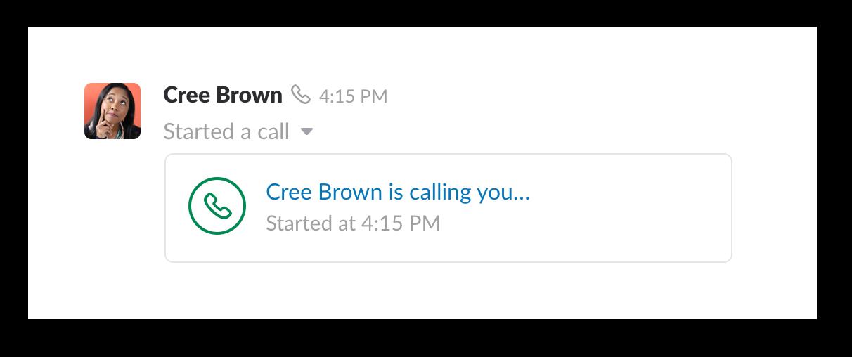 A video call in Slack