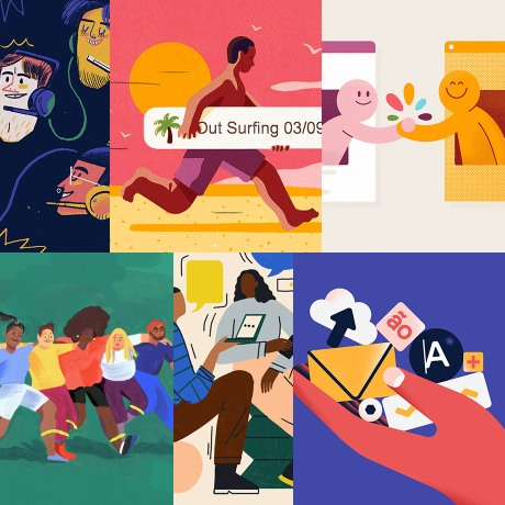 A collection of Slack HQ illustrations from 209