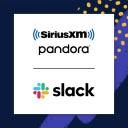 The Slack and SiriusXM/Pandora logos to illustrate a story about Sirius using Slack