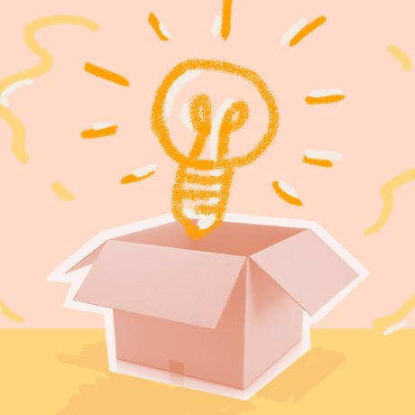 knowledge sharing lightbulb coming out of a box hero