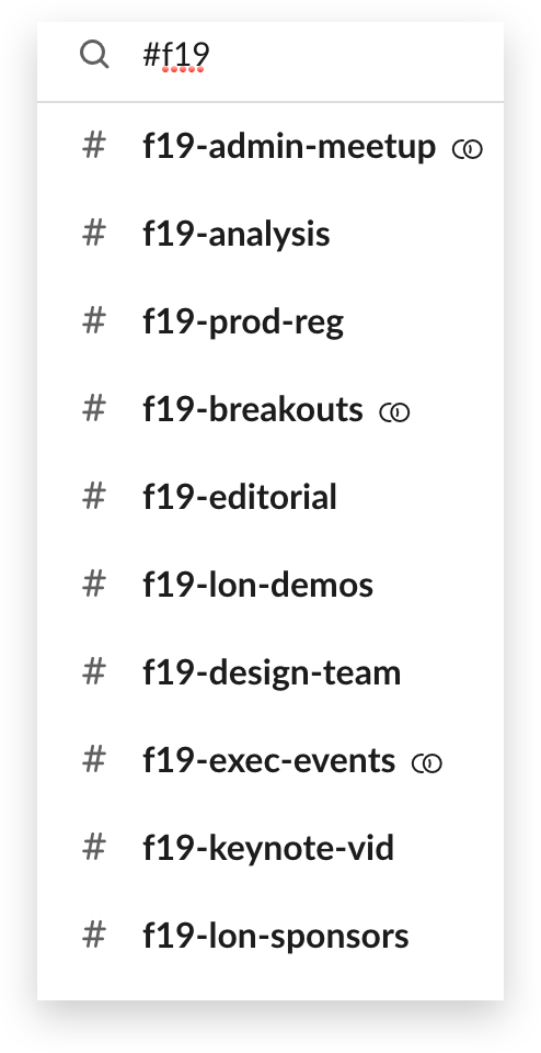 A list of channels used to organize Slack Frontiers